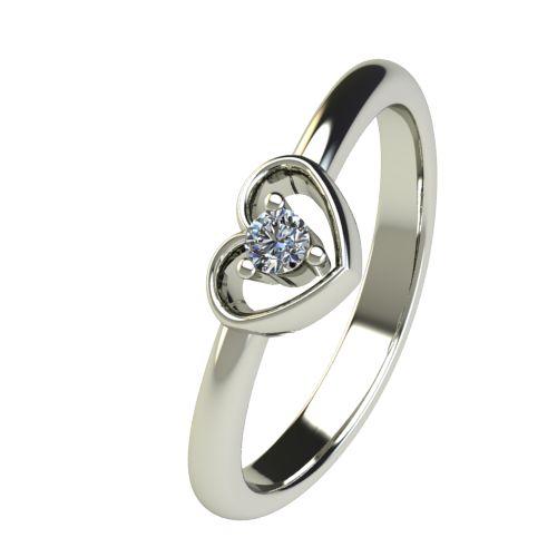 Годежен Пръстен бяло злато с диамант Heart 0,04 ct. 2557