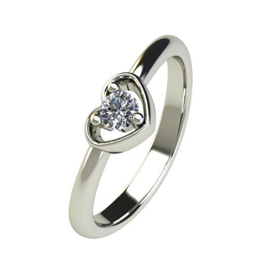 Годежен Пръстен бяло злато с диамант Heart 0,12 ct. 2559