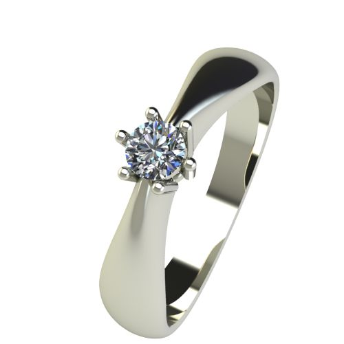 Годежен Пръстен бяло злато с диамант Thin 0,12 ct. 2567