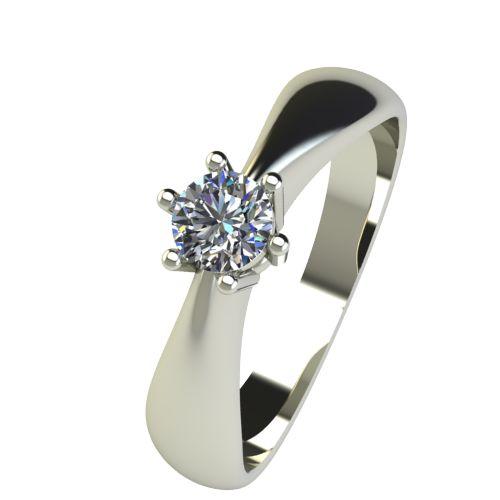 Годежен Пръстен бяло злато с диамант Thin 0,17 ct. 2568