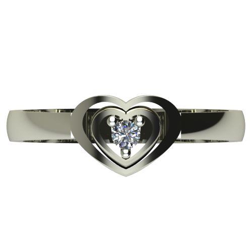 Годежен Пръстен бяло злато с диамант Heart 0,04 ct. 2579 a