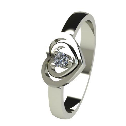 Годежен Пръстен бяло злато с диамант Heart 0,04 ct. 2579