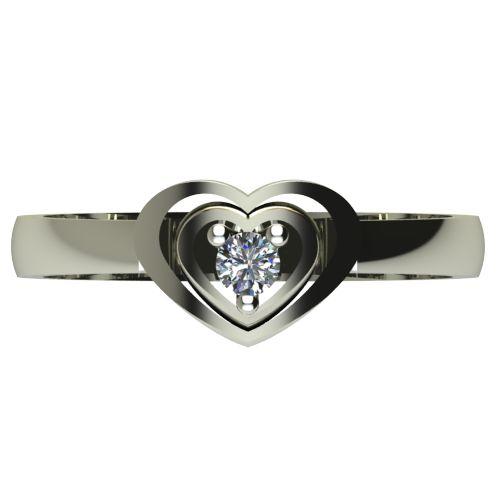 Годежен Пръстен бяло злато с диамант Heart 0,07 ct. 2580 a