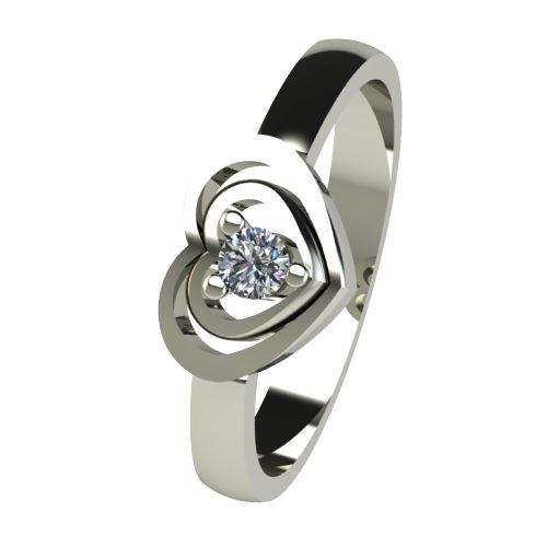 Годежен Пръстен бяло злато с диамант Heart 0,07 ct. 2580