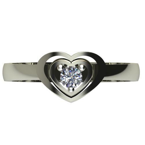 Годежен Пръстен бяло злато с диамант Heart 0,12 ct. 2581 a