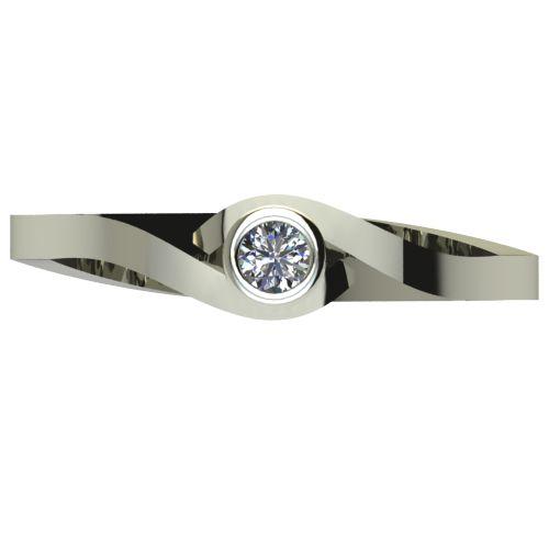 Годежен Пръстен бяло злато с диамант Accent 0,04 ct. 2605 a