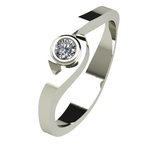 Годежен Пръстен бяло злато с диамант Accent 0,04 ct. 2605