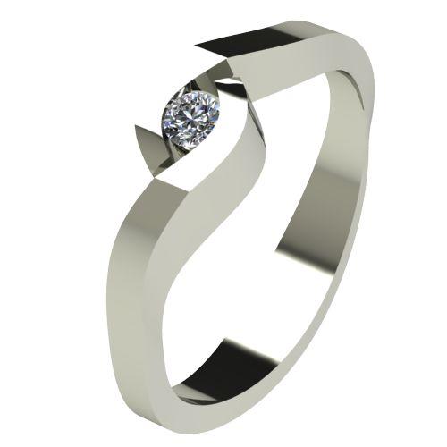 Годежен Пръстен бяло злато с диамант Accent 0,04 ct. 2610