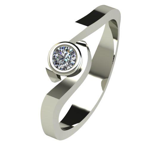 Годежен Пръстен бяло злато с диамант Accent 0,07 ct. 2606