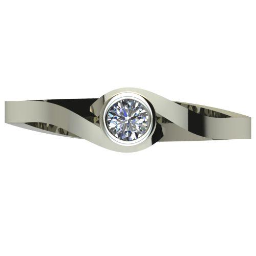 Годежен Пръстен бяло злато с диамант Accent 0,12 ct. 2607 a