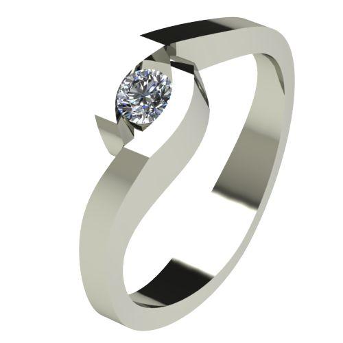 Годежен Пръстен бяло злато с диамант Accent 0,12 ct. 2612