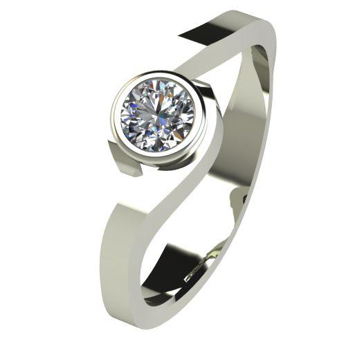 Годежен Пръстен бяло злато с диамант Accent 0,17 ct. 2608