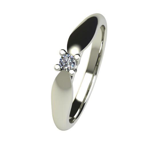 Годежен Пръстен бяло злато с диамант Thin 0,04 ct. 2627