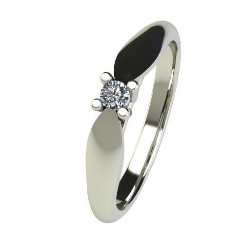 Годежен Пръстен бяло злато с диамант Thin 0,07 ct. 2628