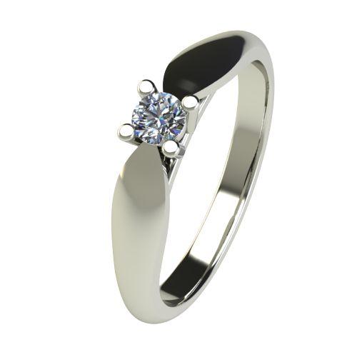 Годежен Пръстен бяло злато с диамант Thin 0,12 ct. 2629