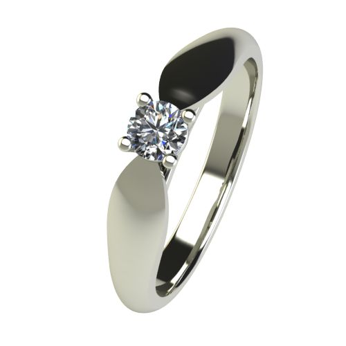 Годежен Пръстен бяло злато с диамант Thin 0,17 ct. 2630