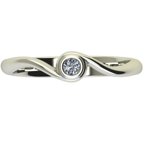 Годежен Пръстен бяло злато с диамант Accent 0,04 ct. 2644 a