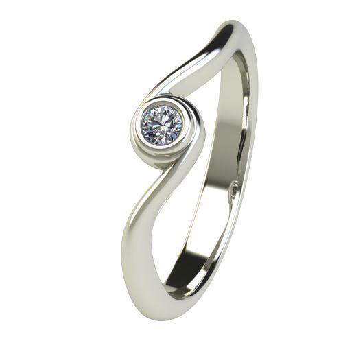 Годежен Пръстен бяло злато с диамант Accent 0,04 ct. 2644