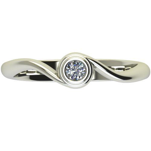 Годежен Пръстен бяло злато с диамант Accent 0,07 ct. 2645 a