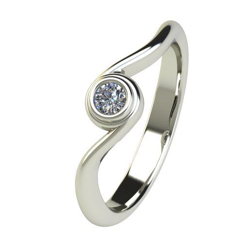 Годежен Пръстен бяло злато с диамант Accent 0,07 ct. 2645