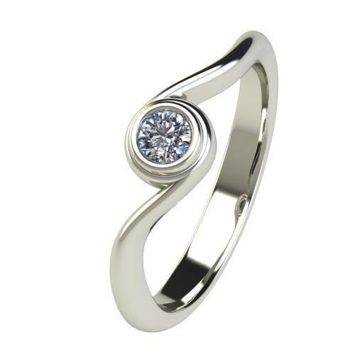 Годежен Пръстен бяло злато с диамант Accent 0,12 ct. 2646