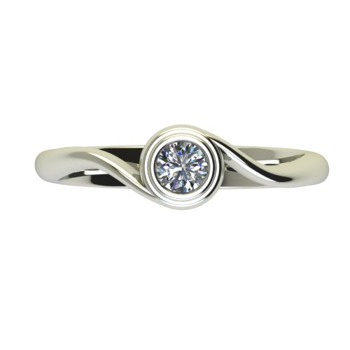 Годежен Пръстен бяло злато с диамант Accent 0,17 ct. 2647 a