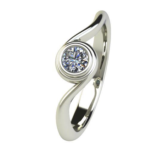 Годежен Пръстен бяло злато с диамант Accent 0,17 ct. 2647