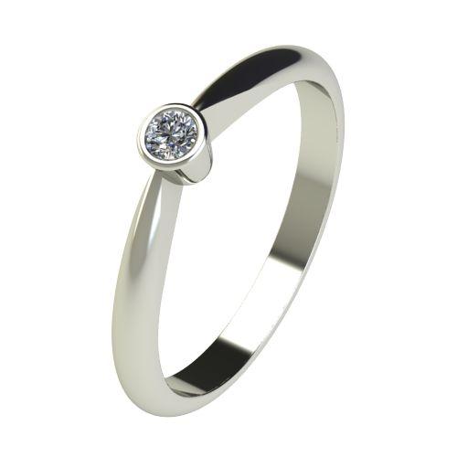 Годежен Пръстен бяло злато с диамант Moon 0,04 ct. 2634
