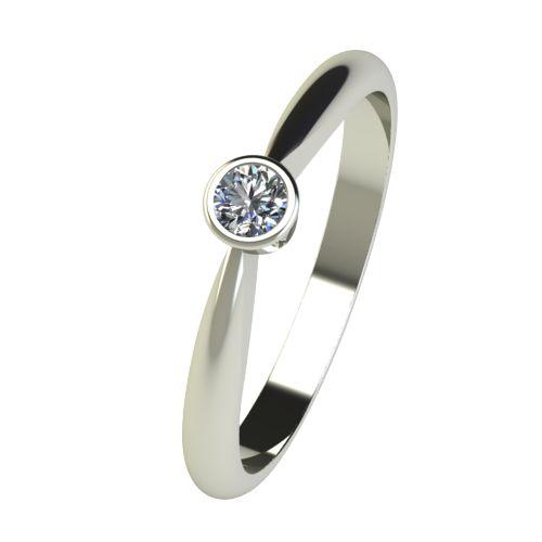 Годежен Пръстен бяло злато с диамант Moon 0,12 ct. 2636