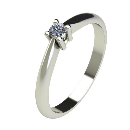 Годежен Пръстен бяло злато с диамант Thin 0,04 ct. 2675