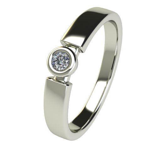 Годежен Пръстен бяло злато с диамант Moon 0,04 ct. 2680