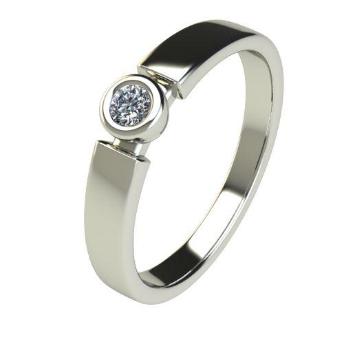 Годежен Пръстен бяло злато с диамант Moon 0,07 ct. 2681