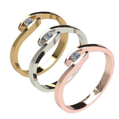 Годежен Пръстен бяло злато с диамант Close 0,04 ct. 2703 c