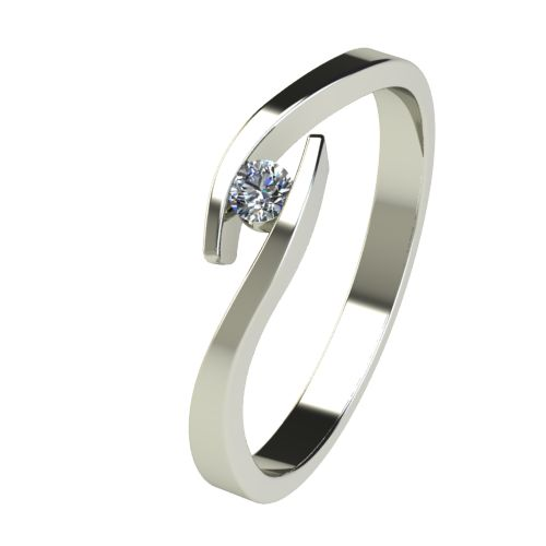 Годежен Пръстен бяло злато с диамант Close 0,04 ct. 2703