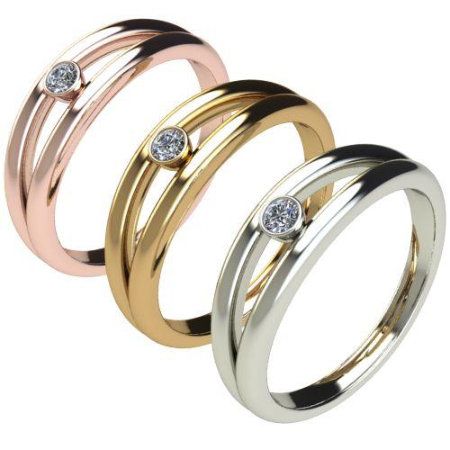 Годежен Пръстен бяло злато с диамант Eyes 0,04 ct. 2687 c