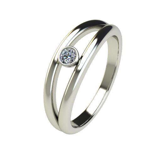 Годежен Пръстен бяло злато с диамант Eyes 0,07 ct. 2688