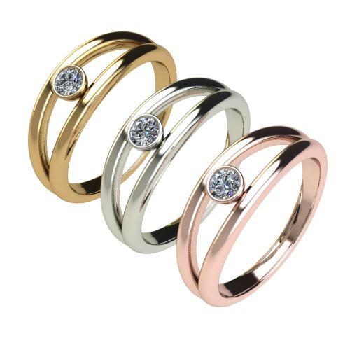 Годежен Пръстен бяло злато с диамант Eyes 0,12 ct. 2689 c
