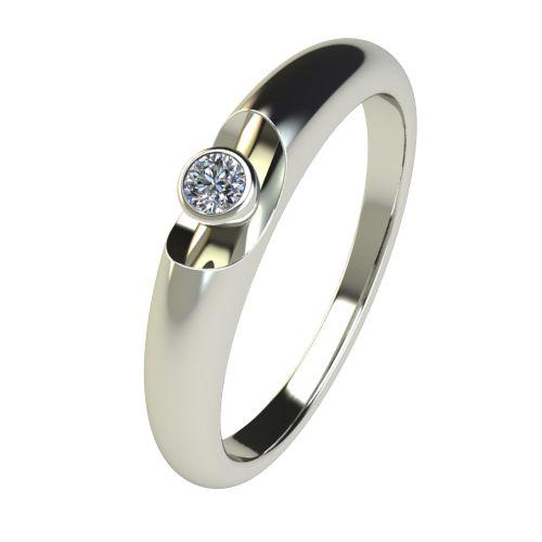 Годежен Пръстен бяло злато с диамант Moon 0,04 ct. 2690