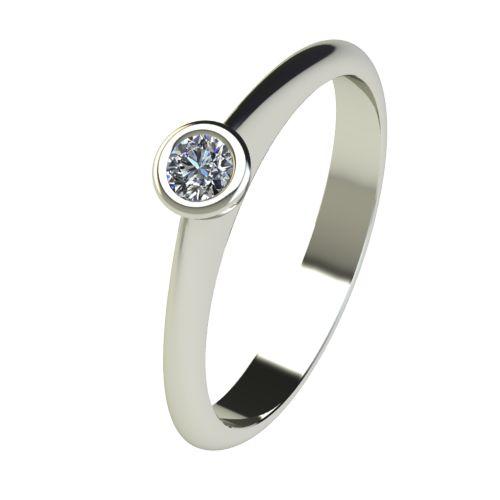 Годежен Пръстен бяло злато с диамант Moon 0,04 ct. 2726