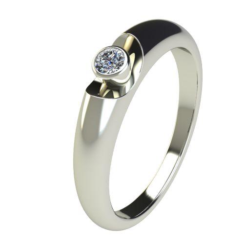 Годежен Пръстен бяло злато с диамант Moon 0,07 ct. 2691