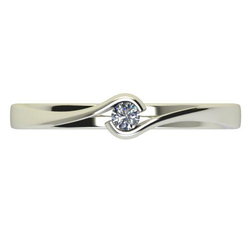 Годежен Пръстен бяло злато с диамант Accent 0,04 ct. 2740 a