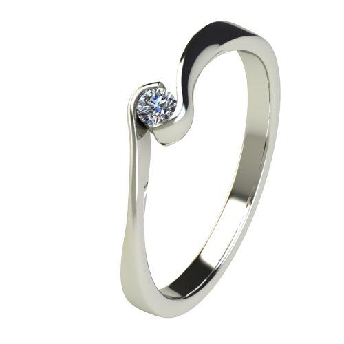 Годежен Пръстен бяло злато с диамант Accent 0,04 ct. 2740