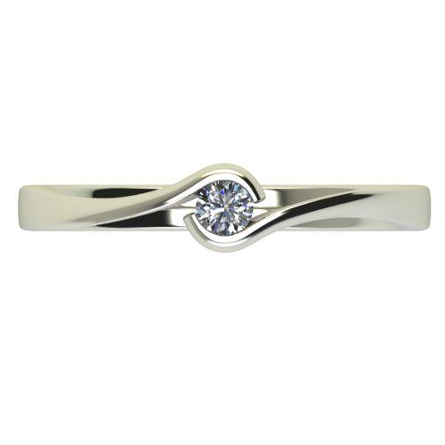 Годежен Пръстен бяло злато с диамант Accent 0,07 ct. 2741 a