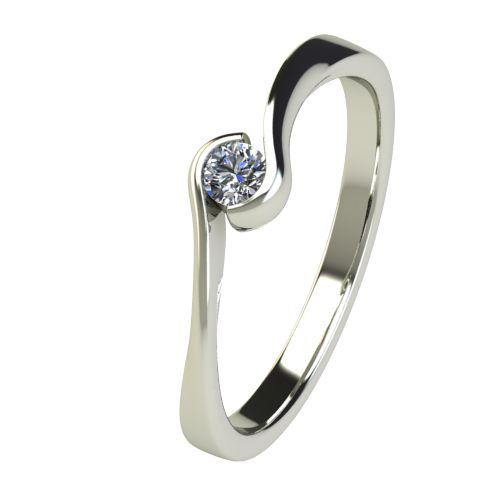 Годежен Пръстен бяло злато с диамант Accent 0,07 ct. 2741