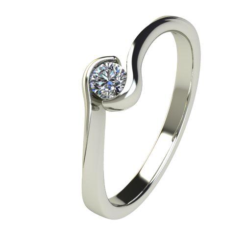 Годежен Пръстен бяло злато с диамант Accent 0,12 ct. 2742