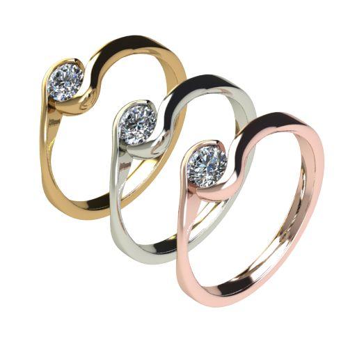 Годежен Пръстен бяло злато с диамант Accent 0,17 ct. 2743 c