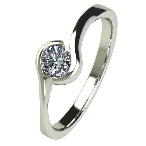 Годежен Пръстен бяло злато с диамант Accent 0,17 ct. 2743