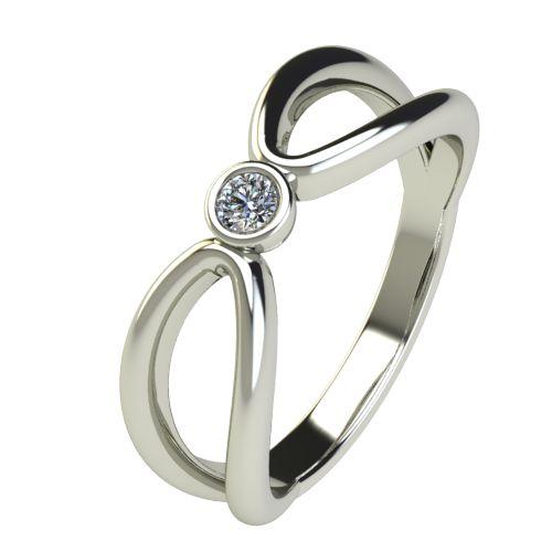 Годежен Пръстен бяло злато с диамант Wings 0,04 ct. 2747