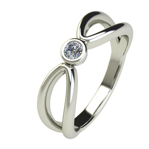 Годежен Пръстен бяло злато с диамант Wings 0,07 ct. 2748