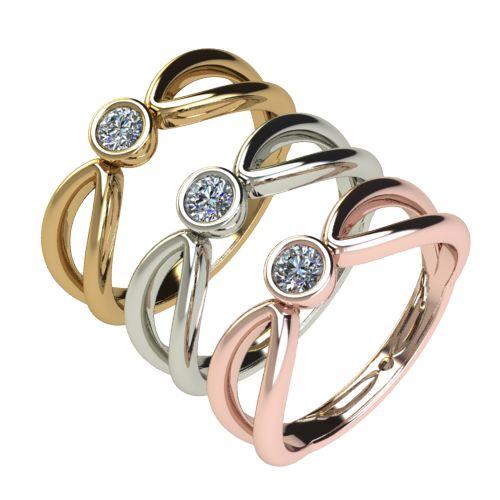 Годежен Пръстен бяло злато с диамант Wings 0,12 ct. 2749 c